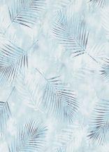 Erismann Fashion for Walls 02579-20 Natur botanikus pálmalevelek fehér halvány türkiz vízzöld kék tapéta