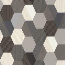 Geometrikus hatszög mátrix fehér szürke fekete csillogó arany vonalazás tapéta