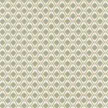 CAROLINE Geometrikus rácsos minta virágmotívummal fehér halvány khakizöld zöld tapéta