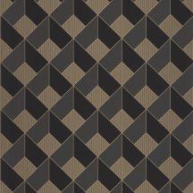 Geometrikus 3D formák fényes labirintusa szürke fekete csillogó arany tapéta