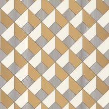 Geometrikus 3D formák fényes labirintusa fehér fémes arany fekete tapéta