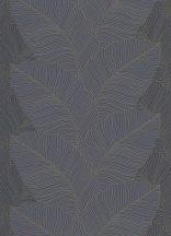 Erismann Bali 10021-47  Natur nagyformátumú levélmintázat fekete kék arany fémesen csillogó mintafelület tapéta