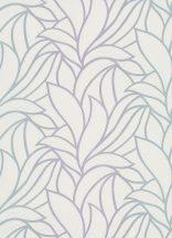 Erismann Bali 10023-05 Grafikus organikus levélmintázat fehér türkiz lila finom csillogó fémes hatás tapéta