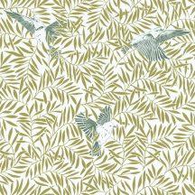 Sunny Day 100237006  BIRDY Natur kis madarak levelek között fehér zöld ezüstszürke tapéta