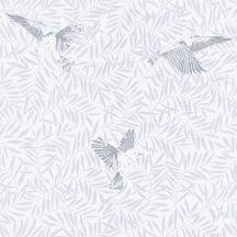 BIRDY Natur kis madarak levelek között fehér hűvös szürke ezüstszürke tapéta