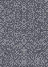 Erismann Bali 10024-15 Vintage díszítőminta fekete szürke ezüst fémes hatás tapéta