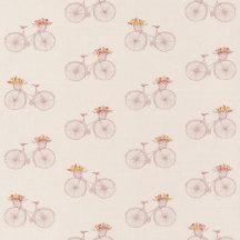 DAISY  Romantikus régimódi kerékpárok bézs rózsaszín árnyalatok sárga tapéta