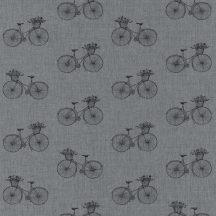 DAISY  Romantikus régimódi kerékpárok szürke és sötétszürke árnyalatok tapéta