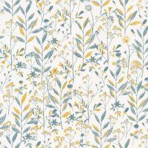 Sunny Day 100266020  LAURA Natur mezei növények virágok krémfehér sárga kékeszöld tapéta