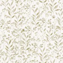 Sunny Day 100267079  LAURA Natur mezei növények virágok krémfehér friss zöld tapéta