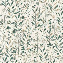 LAURA Natur mezei növények virágok krémfehér telt gazdag zöld ragyogó arany tapéta
