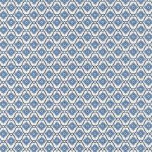 CAROLINE Geometrikus rácsos minta virágmotívummal krém kék mélykék/fekete tapéta