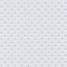 Geometrikus rácsos minta virágmotívummal halvány szürkésfehér szürke tapéta