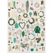 LA VIE EN GREEN by MARIE CLAIRE Natur Vintage természeti falikép fehér zöld szines falpanel