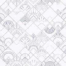 GOLDEN YEARS Retro kortárs geometrikus díszítőminta hűvös fehér szürke csillogó ezüst tapé