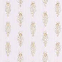 PEACOCK Natur stilizált pávatollak művészi sorozata halvány rózsaszín bézs csillogó arany tapéta