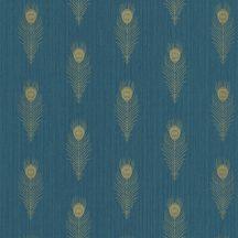 PEACOCK Natur stilizált pávatollak művészi sorozata világos kék kékeszöld csillogó arany tapéta