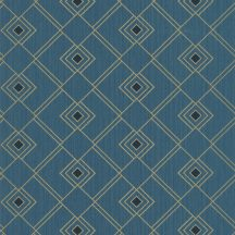 100476050 GATSBY Geometrikus díszítőminta kék kékeszöld fekete csillogó arany tapéta