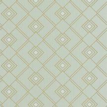 Caselio Scarlett 100477086 GATSBY Geometrikus díszítőminta világoszöld csillogó arany tapéta