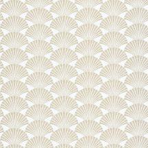 Caselio Scarlett 100490020 PEARL Natur legyezőminta hűvös fehér csillogó arany tapéta