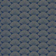Caselio Scarlett 100496025 PEARL Natur legyezőminta mély sötétkék csillogó arany tapéta