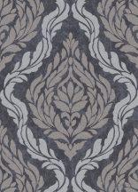 Erismann Carat 10060-37 Klasszikus barokk díszítőminta antracit szürkésbarna ezüst csillámló mintafelület tapéta