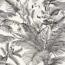 Caselio Moonlight 101039000 Natur trópusi flamingó és pálmák fehér fekete tapéta