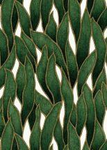 Erismann Spotlight 10104-07 Natur Stilizált levélmintázat fehér sötétzöld fekete arany tapéta