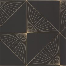 Caselio Moonlight 101052099 Geometrikus négyzetek-háromszögek vonalkázással fekete arany tapéta