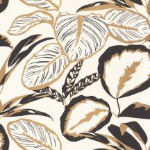 Moonlight 101082093  Natur nagyformátumú levelek fekete fehér fémes arany tapéta