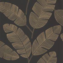 Caselio Moonlight 101102090  Natur trópusi stilizált banánlevelek fekete fémes arany tapéta