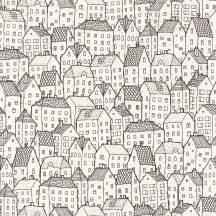 Moonlight 101119000 Grafikus vázlatos házak sokasága fehér fekete tapéta