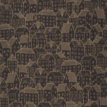 Moonlight 101122093  Grafikus vázlatos házak sokasága fekete fémes arany tapéta