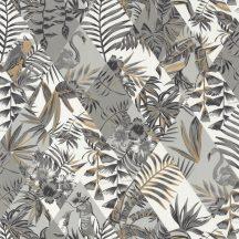 Geometikus Natur rombuszminta alapon dzsungel trópusi madarak fehér szürke csillogó arany tapéta