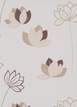 Erismann Novara 10117-02 Stilizált virágos díszítőminta krémfehér bézs barna tapéta