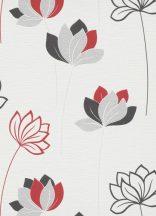 Erismann Novara 10117-06 Stilizált virágos díszítőminta fehér piros szürke fekete tapéta