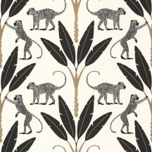 Natur trópusi dzsungel stilizált pálmafák páviánokkal fehér fekete arany tapéta