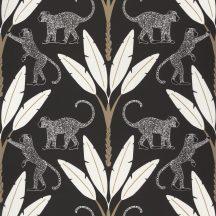 Natur trópusi dzsungel stilizált pálmafák páviánokkal fekete fehér arany tapéta