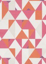Erismann Novara 10119-04 Geometrikus grafikus háromszögek - rombuszok fehér rózsaszín pink narancs tapéta