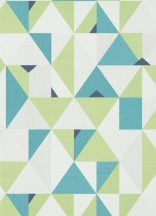 Erismann Novara 10119-07 Geometrikus grafikus háromszögek - rombuszok fehér zöld kék petrol tapéta