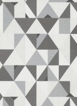 Erismann Novara 10119-34 Geometrikus grafikus háromszögek - rombuszok fehér azürke fekete tapéta
