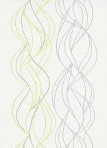 Erismann Novara 10120-07  Grafikus Hullámminta krémfehér zöld szürke petrol tapéta