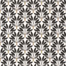 Natur trópusi apró sűrűn elhelyezkedő stilizált pálmafák fehér fekete arany tapéta