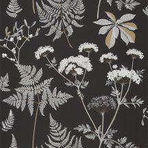 Natur mezei növények virágok szürke fehér fekete arany tapéta