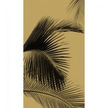 Natur trópusi egzotikus felnagyított fotorealisztikus pálmalevél csillogó arany fekete falpanel