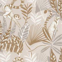 Natur dzsungel trópusi lombozat lemurokkal bész szürkésbézs barna fehér csillogó fémes fény tapéta
