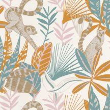 trópusi lombozat lemurokkal fehér narancs zöldeskék rózsaszín barna csillogó fémes fény tapéta
