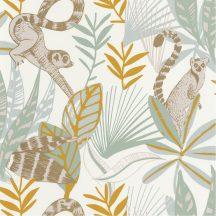trópusi lombozat lemurokkal fehér sárga kék barna csillogó fémes fény tapéta