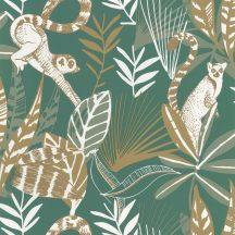 dzsungel trópusi lombozat lemurokkal telt zöld fehér arany csillogó fémes fény tapéta