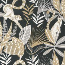 trópusi lombozat lemurokkal fekete szürke barna fehér csillogó fémes fény tapéta